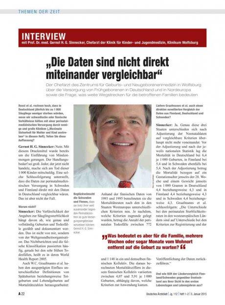 """Interview mit Prof. Dr. med. Gernot H. G. Sinnecker, Chefarzt der Klinik für Kinder- und Jugendmedizin, Klinikum Wolfsburg: """"Die Daten sind nicht direkt miteinander vergleichbar"""""""