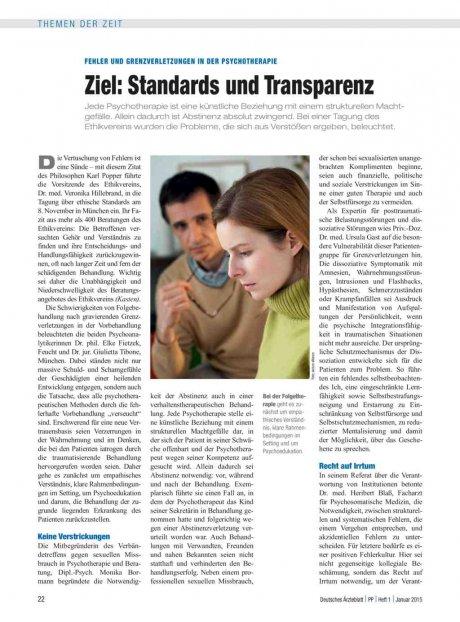 Fehler und Grenzverletzungen in der Psychotherapie: Ziel – Standards und Transparenz