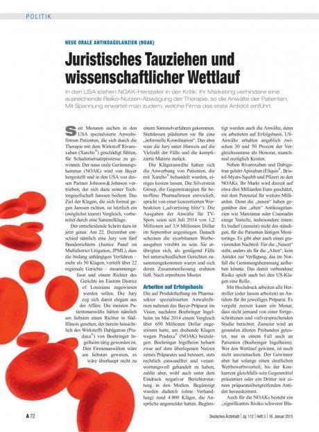 Neue orale Antikoagulanzien (NOAK): Juristisches Tauziehen und wissenschaftlicher Wettlauf