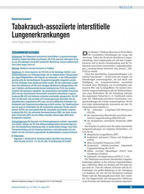 Tabakrauch-assoziierte interstitielle Lungenerkrankungen