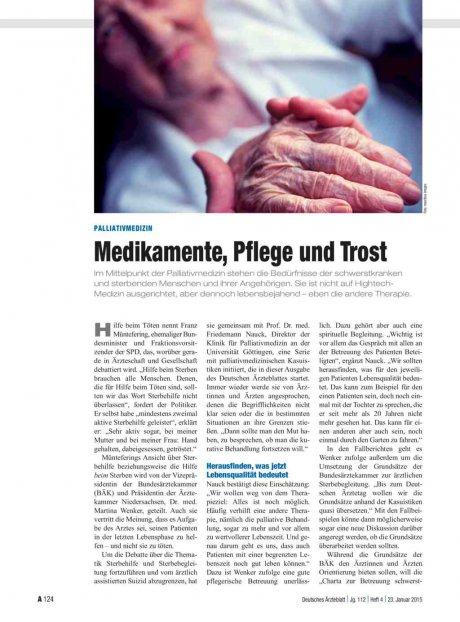 Palliativmedizin: Medikamente, Pflege und Trost