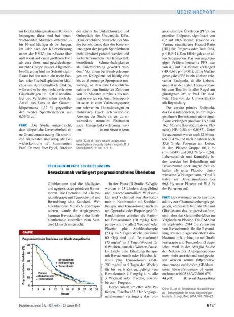 Erstlinientherapie des Glioblastoms: Bevacizumab verlängert progressionsfreies Überleben