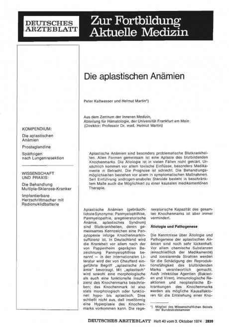 Die aplastischen Anämien