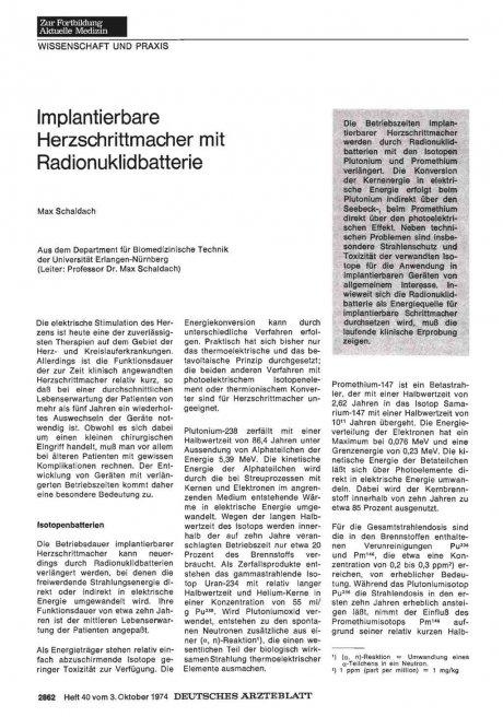 Implantierbare Herzschrittmacher mit Radionuklidbatterie