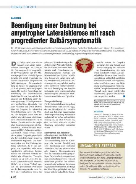 Kasuistik: Beendigung einer Beatmung bei amyotropher Lateralsklerose mit rasch progredienter Bulbärsymptomatik