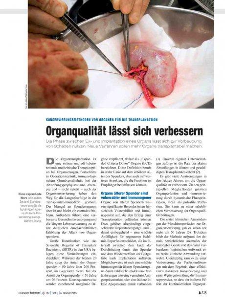Konservierungsmethoden von Organen für die Transplantation: Organqualität lässt sich verbessern