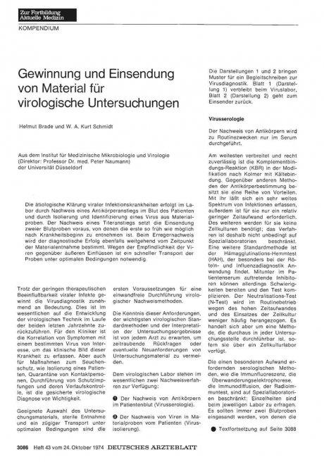 Gewinnung und Einsendung von Material für virologische Untersuchungen