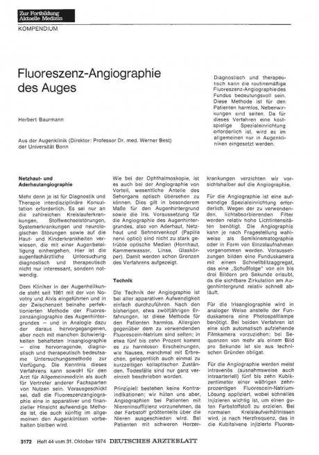 Fluoreszenz-Angiographie des Auges