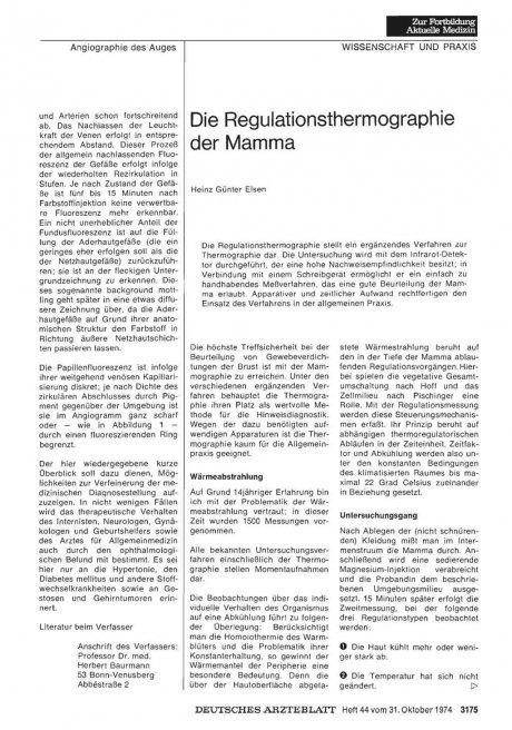 Die Regulationsthermographie der Mamma