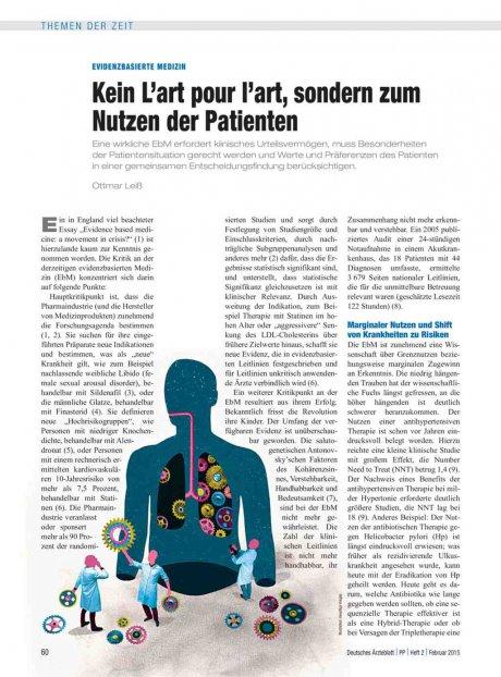 Evidenzbasierte Medizin: Kein L'art pour l'art, sondern zum Nutzen der Patienten