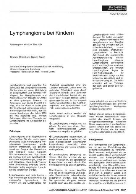 Lymphangiome bei Kindern