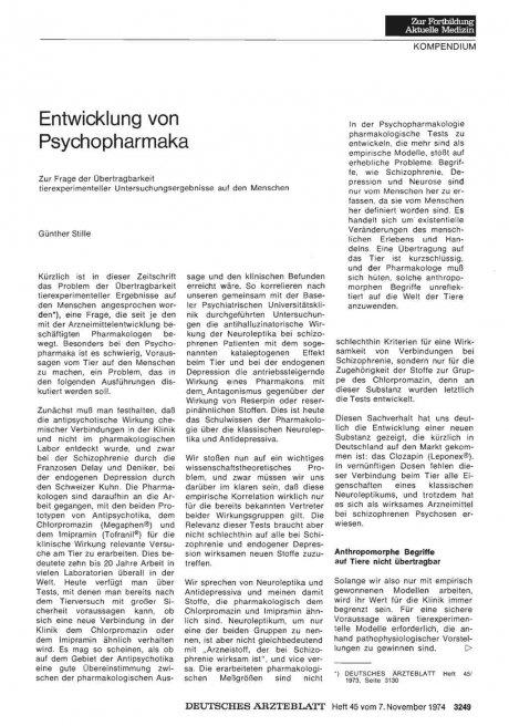 Entwicklung von Psychopharmaka