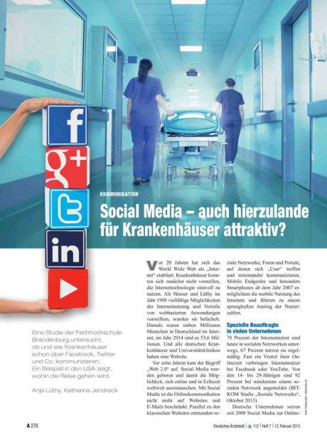 Kommunikation: Social Media – auch hierzulande für Krankenhäuser attraktiv?
