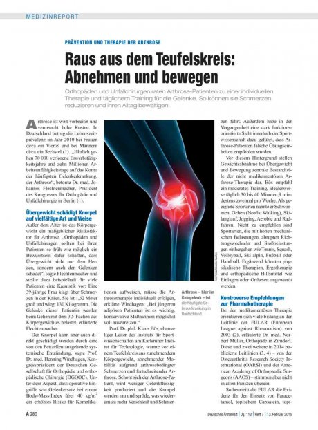 Prävention und Therapie der Arthrose –Raus aus dem Teufelskreis: Abnehmen und bewegen