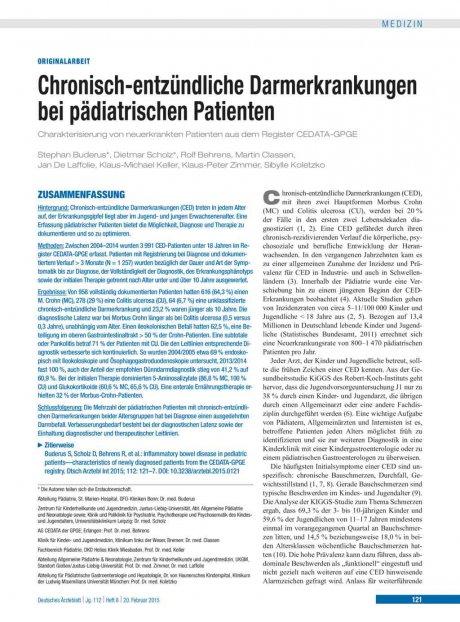 Chronisch-entzündliche Darmerkrankungen bei pädiatrischen Patienten
