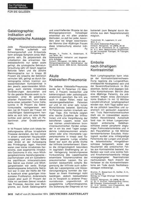 Galaktographie: Indikation und diagnostische Aussage