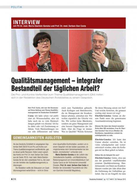 Interview mit PD Dr. med. Maria Eberlein-Gonska und Prof. Dr. med. Serban-Dan Costa: Qualitätsmanagement – integraler Bestandteil der täglichen Arbeit?