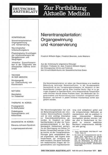 Nierentransplantation: Organgewinnung und -konservierung