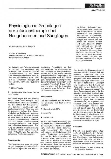 Physiologische Grundlagen der Infusionstherapie bei Neugeborenen und Säuglingen
