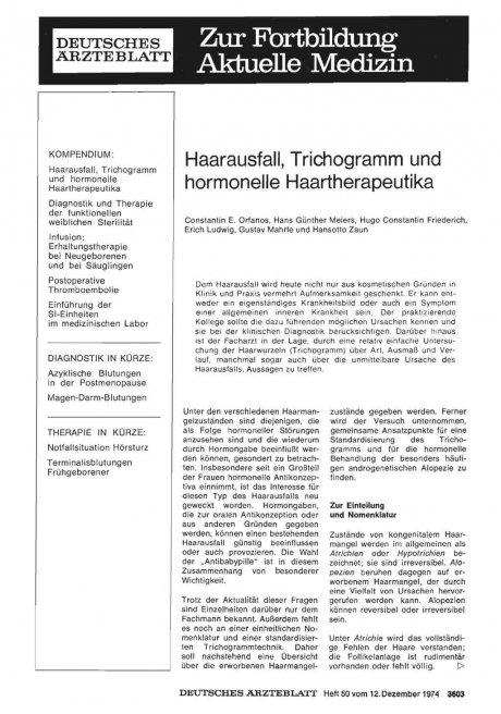 Haarausfall, Trichogramm und hormonelle Haartherapeutika