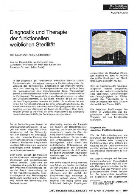 Diagnostik und Therapie der funktionellen weiblichen Sterilität