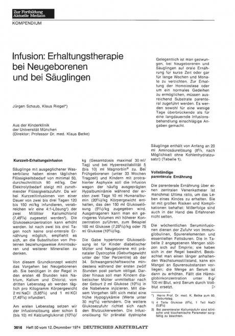 Infusion: Erhaltungstherapie bei Neugeborenen und bei Säuglingen