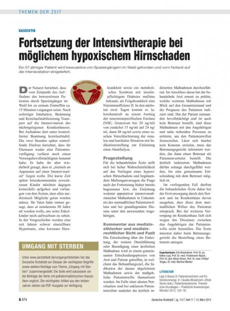 Kasuistik: Fortsetzung der Intensivtherapie bei möglichem hypoxischem Hirnschaden