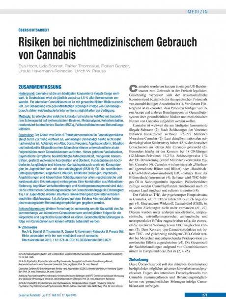 Risiken bei nichtmedizinischem Gebrauch von Cannabis