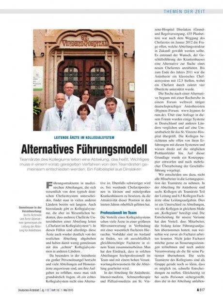 Leitende Ärzte im Kollegialsystem: Alternatives Führungsmodell