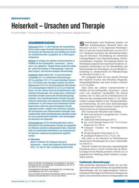 Heiserkeit – Ursachen und Therapie