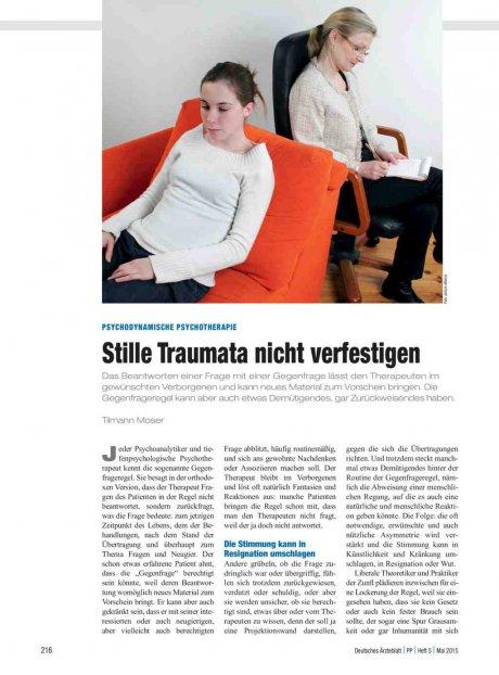 Psychodynamische Psychotherapie: Stille Traumata nicht verfestigen