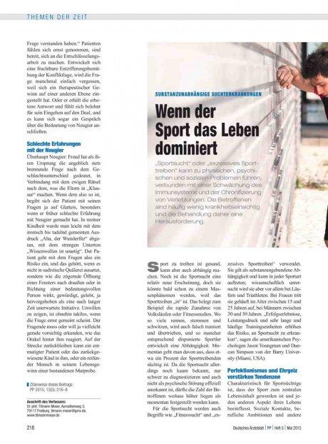 Substanzunabhängige Suchterkrankungen: Wenn der Sport das Leben dominiert