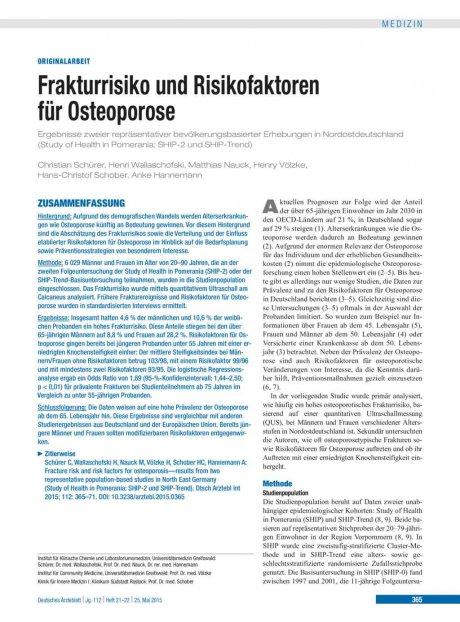 Frakturrisiko und Risikofaktoren für Osteoporose