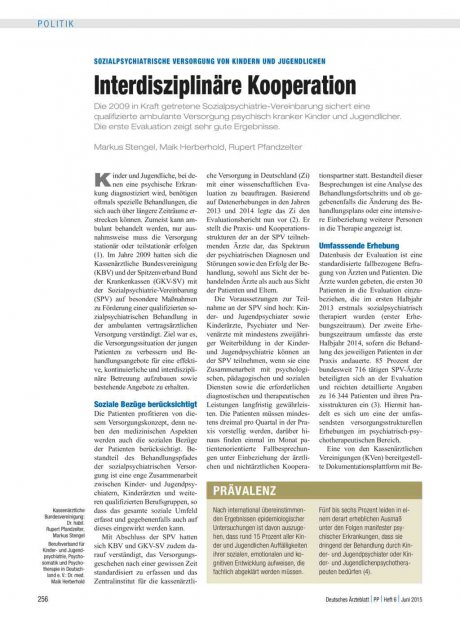 Sozialpsychiatrische Versorgung von Kindern und Jugendlichen: Interdisziplinäre Kooperation