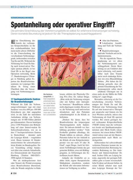 Verbrennungswunden: Spontanheilung oder operativer Eingriff?