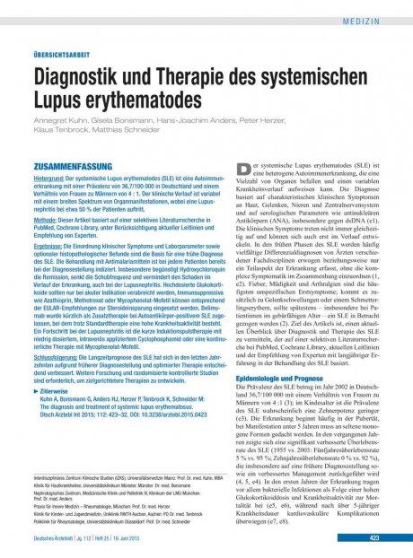 Diagnostik und Therapie des systemischen Lupus erythematodes
