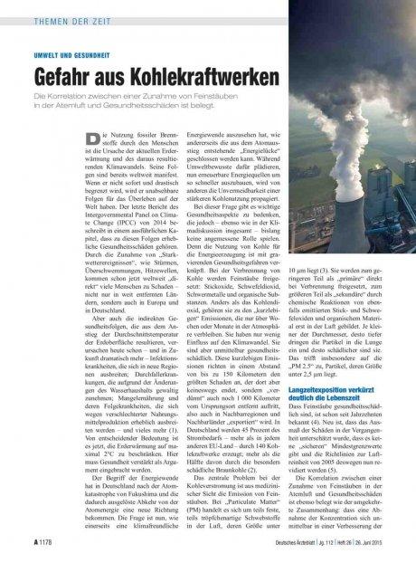 Umwelt und Gesundheit: Gefahr aus Kohlekraftwerken