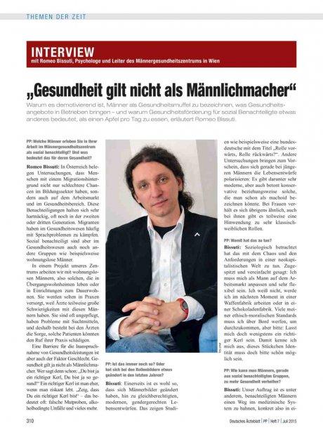 """Interview mit Romeo Bissuti, Psychologe und Leiter des Männergesundheitszentrums in Wien: """"Gesundheit gilt nicht als Männlichmacher"""""""