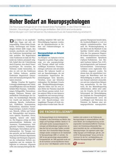 Hirnfunktionsstörungen: Hoher Bedarf an Neuropsychologen