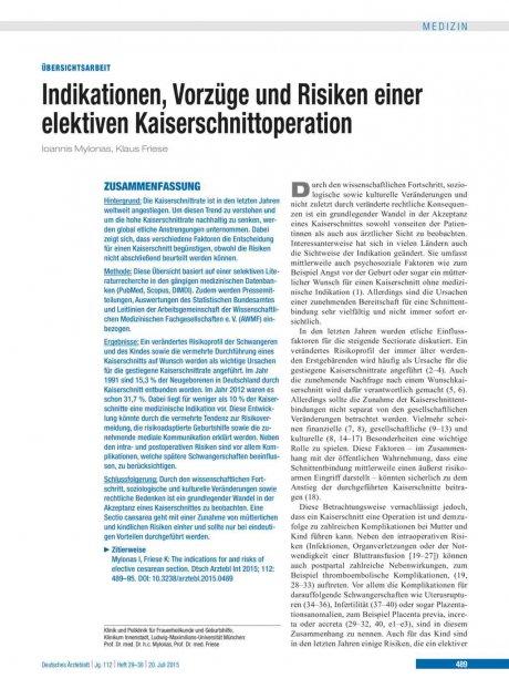 Indikationen, Vorzüge und Risiken einer elektiven Kaiserschnittoperation