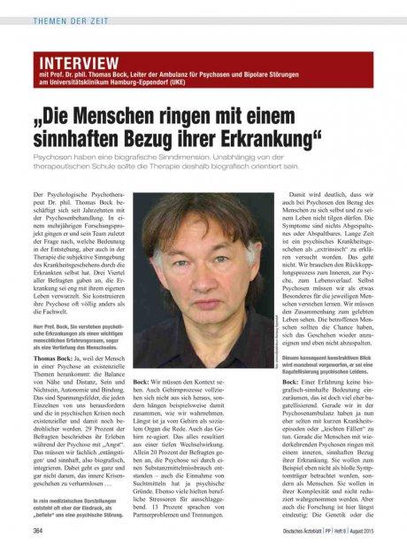 """Interview mit Prof. Dr. phil. Thomas Bock, Leiter der Ambulanz für Psychosen und Bipolare Störungen am Universitätsklinikum Hamburg-Eppendorf (UKE): """"Die Menschen ringen mit einem sinnhaften Bezug ihrer Erkrankung"""""""