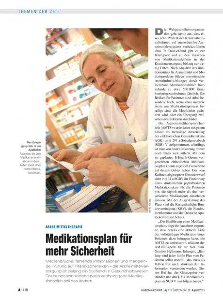 Arzneimitteltherapie: Medikationsplan für mehr Sicherheit