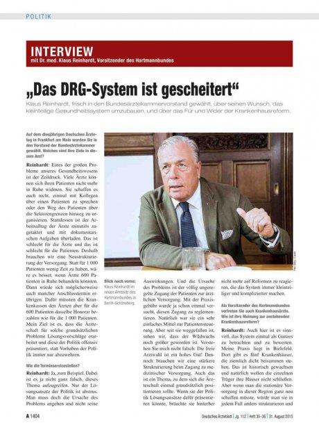 """Interview mit Dr. med. Klaus Reinhardt, Vorsitzender des Hartmannbundes: """"Das DRG-System ist gescheitert"""""""