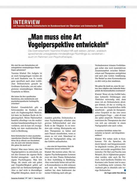 """Interview mit Yasmine Khaled, Dolmetscherin im Bundesverband der Übersetzer und Dolmetscher (BDÜ): """"Man muss eine Art Vogelperspektive entwickeln"""""""