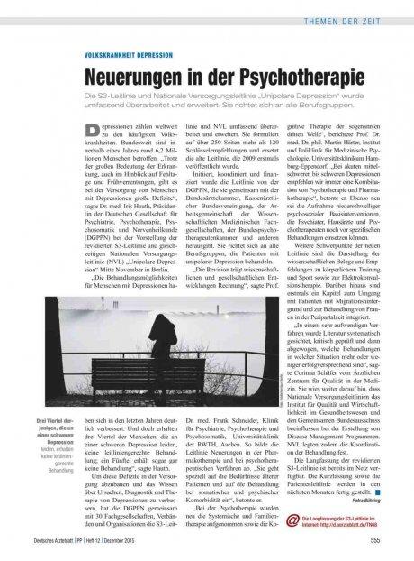 Volkskrankheit Depression: Neuerungen in der Psychotherapie