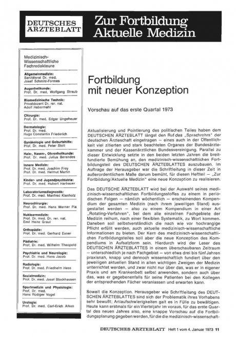 Fortbildung mit neuer Konzeption: Vorschau auf das erste Quartal 1973