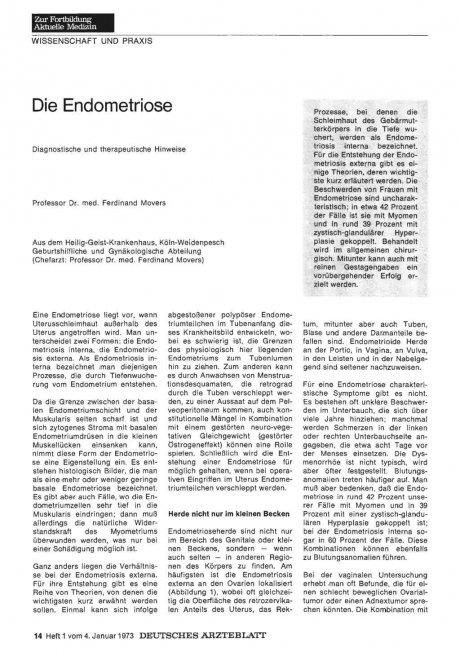 Die Endometriose: Diagnostische und therapeutische Hinweise