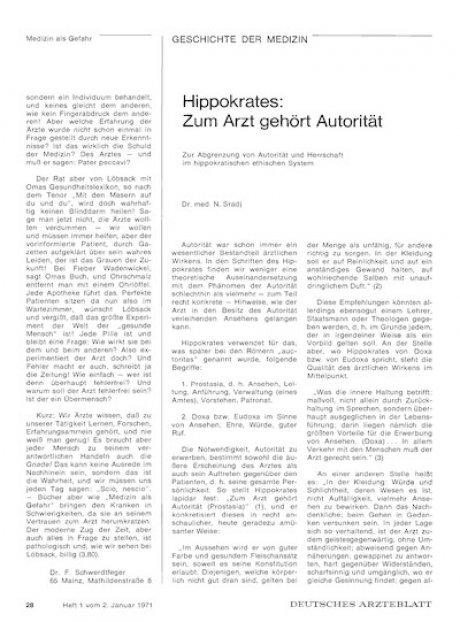 Hippokrates: Zum Arzt gehört Autorität. Zur Abgrenzung von Autorität und Herrschaft im hippokratischen ethischen System