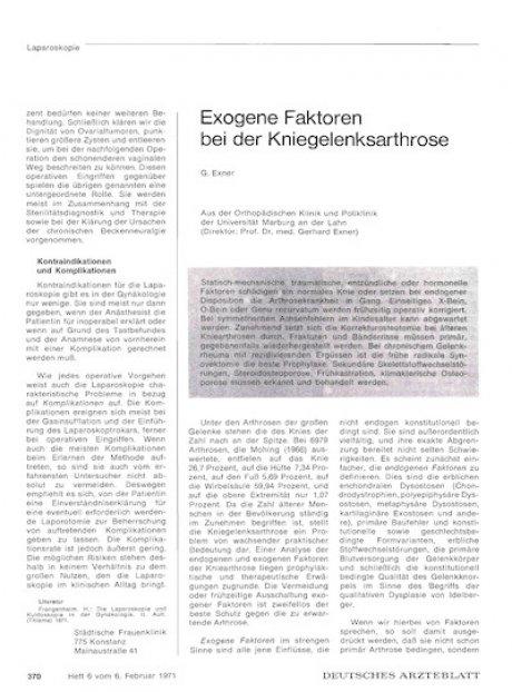 Exogene Faktoren bei der Kniegelenksarthrose