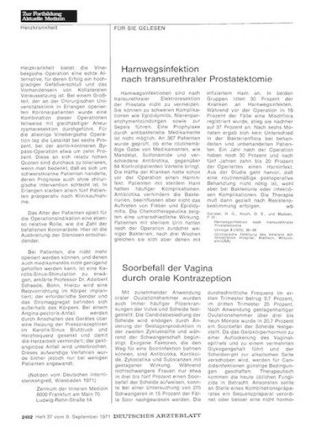 Harnwegsinfektion nach transurethraler Prostatektomie